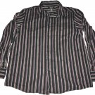 Claiborne Long Sleeve Button Up Collar Shirt Black Purple Stripes