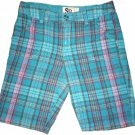 SO Plaid Girl Summer Shorts Size 12 Turquoise Pink