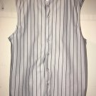 Cut Off No Sleeve Muscle Baseball Button Up Jersey Black Gray Plain WS Colorway
