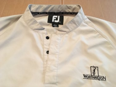 Worthington Footjoy Windbreaker Golf Jacket Solid Beige Snap Up Men's size XL