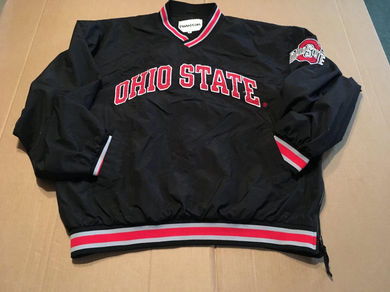 Vintage 90s Phantom Ohio State Black Red Windbreaker / Pullover Embroidered RARE