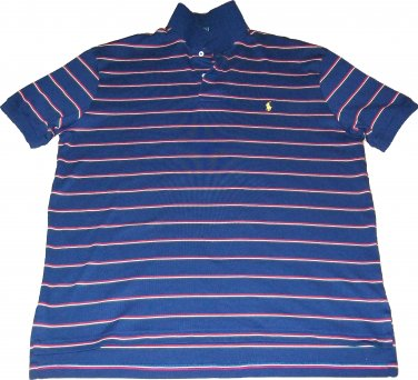 Ralph Lauren Polo / Rugby / Golf Short Sleeve Navy Blue Size Large Red Stripes