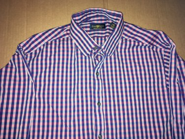 Club Room Long Sleeve Casual Collar Button Up Plaid Lavender Men's Size 16 Large
