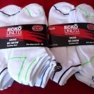 12 Pair Ecko Unlimited Mens No Show Boat Socks Soft  Durable White Stripe 6-12