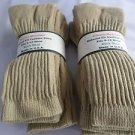 6 Pair of  Pocono Relaxed Fit Cotton Cushion Crew Socks 9-12 Made USA Khaki