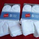 10 Pack Hanes Cuff Crew Value Pack Socks White Great Quality!! Medium 5-9