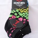 7 Pair Ecko Red No Show Socks Blue Black Pink Stripe Yellow 4-10 1/2