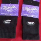2 Pair Womens Medium Wrangler Angora Crew Boot Hiker Warm Sock 6-9 Black USA