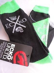 2 Pair Ecko Unlimited Men Crew Socks Large Neon Green Black Rhino Skull6 1/2-12