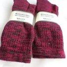 2 Pair Pocono 82%  Merino Wool Hiker Women Socks USA Shoe 5-10 Red Black