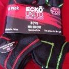 6 Pair Ecko Unlimited Boys No Show Boat Socks Soft  Durable Black Lines 9-2 1/2