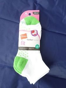 4 Pack Hanes Ankle Comfort Collection Socks Pink White Green Great Quality! 5-9
