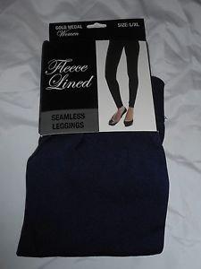 1 Pair Gold Medal  Seamless Womens Fleece Leggings Navy  Large/Extra Large