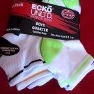 6 Pair Ecko Unlimited Boys Quarter High Socks Soft  Durable White Neon 9-2 1/2