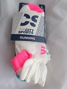 3 Pair City Sport Running No Show Socks Tab Back Heel Guard  6-12 Bright Neon HT