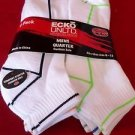 6 Pair Ecko Unlimited Mens Quarter Socks Soft and Durable White Line 6-12