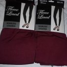 2 Pair Gold Medal  Seamless Womens Fleece Leggings Burgundy  Large/Extra Large
