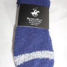 2 Pair Beverly Hills Polo Club Fuzzy Comfy Warm Socks 6-12 Navy Blue