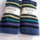 2 Pair Pocono 82%  Merino Wool Hiker Women Socks USA Shoe 5-10 Striped