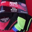 6 Pair Ecko Unlimited Boys No Show Boat Socks Soft and Durable Black Heel Toe 3-9