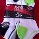 6 Pair Ecko Unlimited Boys No Show Boat Socks Soft Durable White Heel Toe 3-9