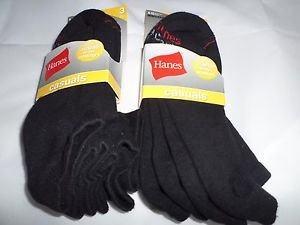 6 Pair Hanes Large No Show Casual Socks Cushion All Day Comfort Black  6-12