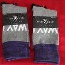 2 Pair Large Marc Ecko Cut & Sew Cotton Crew Socks 6-12 Blue
