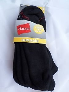 3 Pair Hanes Large No Show Casual Socks Cushion All Day Comfort Black  6-12