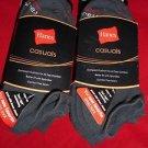 6 Pair Hanes Large No Show Casual Socks Cushion All Day Comfort Dark Grey 6-12