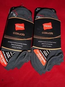 6 Pair Hanes Large No Show Casual Socks Cushion All Day Comfort Dark Grey 6-12