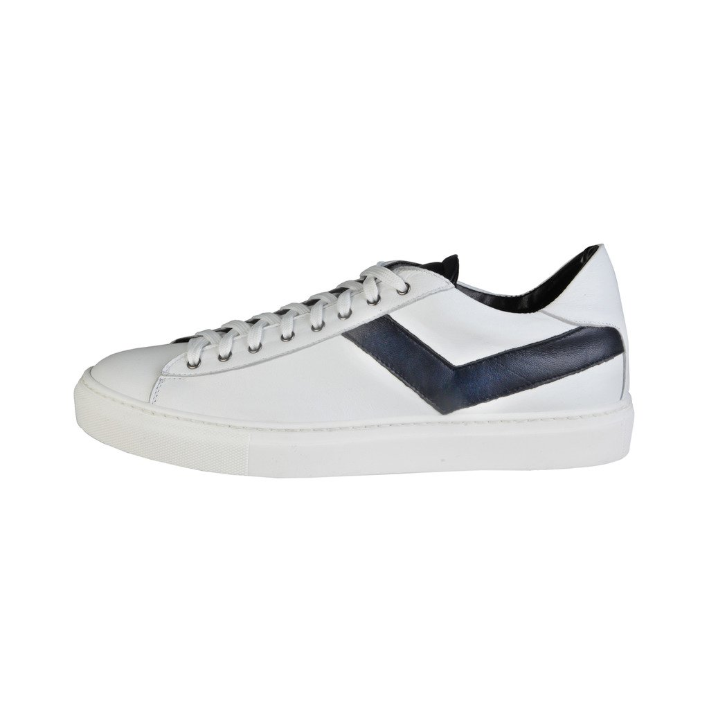 Versace 1969 Silvere Men's Leather Sneaker, White & Navy Blue, IT44