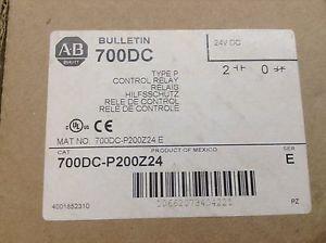 New In Box, Allen-Bradley 700DC-P200Z24 Control Relay 10A 600V,Coil: 24VD