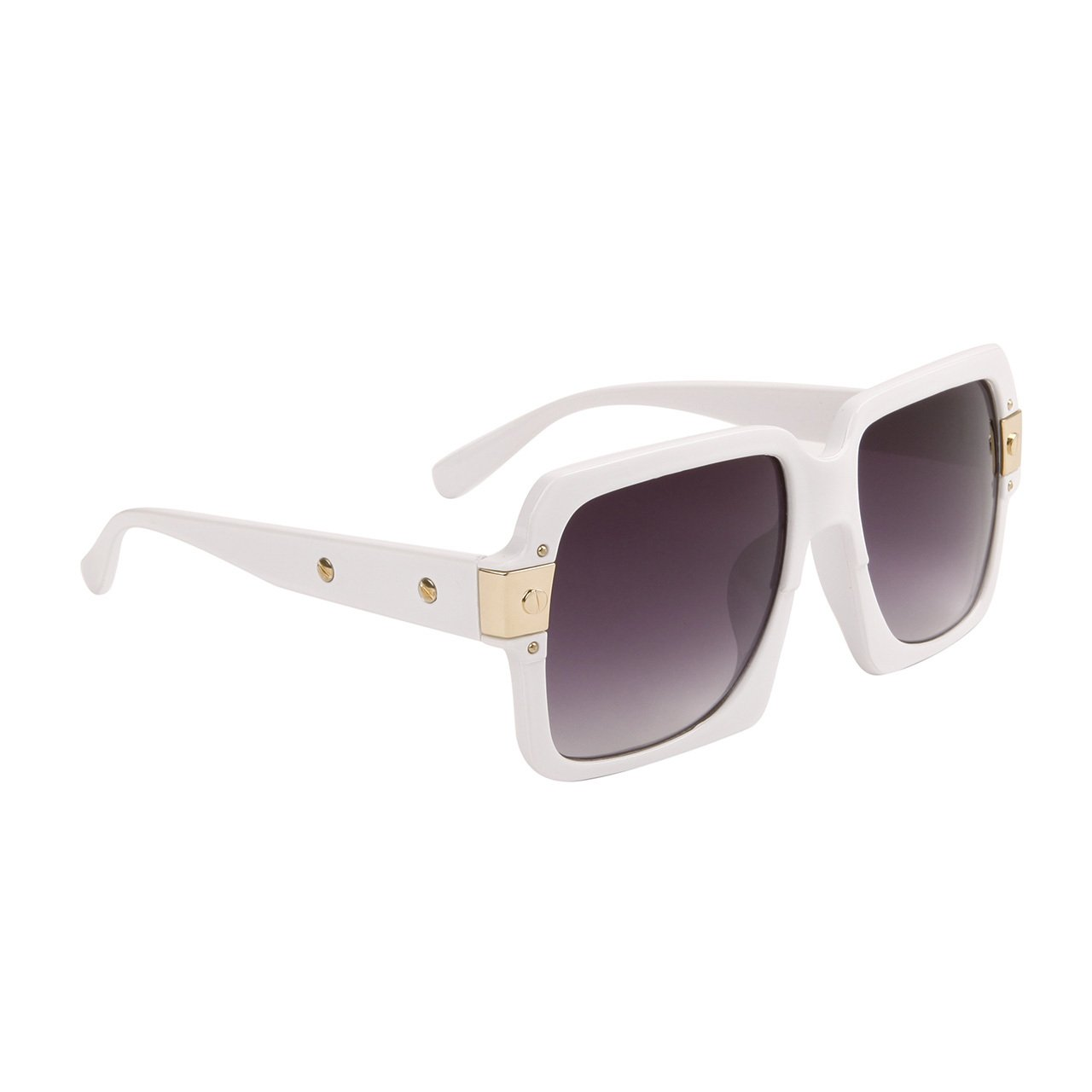 WOMEN'S LARGE DESIGNER INSPIRED WHITE SQUARE SUNGLASSES TOP DEPARTMENT STORE QUALITY