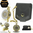 Authentic EURO Coin Pocket Watch Set Big 53 MM Men Gift Chain Leather Pouch C38