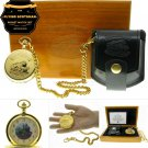 FLYING SCOTSMAN Gold Pocket Watch Gift Set with Chain Leather Pouch and Box C66