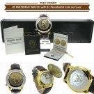 1 Dollar Coin President JF Kennedy Men Watch Japan Quartz + Date & Cover Gift W1