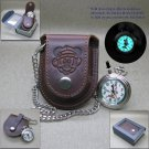 Mickey Mouse Animal Kingdom Pocket Watch Gift Set Leather Pouch + Fob Chain C59A