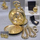 HERITAGE TIME Gold Mechanical Pocket Watch Skeleton Large 50 MM + Fob Chain C25