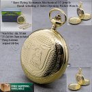 Flying Scotsman Mechanical Pocket Watch Big Gold Skeleton with Chain and Box C27