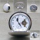 Tourbillon Mechanical Pocket Watch Silver Polish Sun Moon with Chain and Box 42B