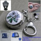 Enamel Pendant Watch with Cover Mirror 2 Ways Key Ring + Necklace Women Gift L54