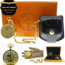 LEST WE FORGET Memorial GOLD Pocket Watch Men Gift Set Gold Chain Pouch Box C72