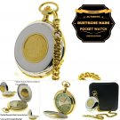 Authentic DEUTSCHE MARK Coin Pocket Watch Big 53 MM Men Gift Rotating Coin C39