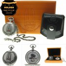 HOLDEN Memorial Silver Pocket Watch Car Collection Men Gift Set Chain Pouch Box