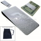 LOCOMOTIVE TRAIN Money Clip Silve Wallet Cash Credit Card Holder Men fashion M16