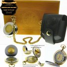 Authentic NEDERLAND GULDEN Coin Pocket Watch Set Gift Leather Pouch Wood Box C86