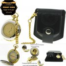 Authentic UK PENNY Coin Pocket Watch Set Big 53 MM Men Gift Leather Pouch C36