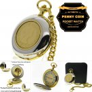Authentic UK PENNY Coin Pocket Watch Set Big 53 MM Men Gift Rotating Coin C36