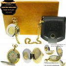 Authentic AUSTRIA SHILLING Coin Pocket Watch Set Gift Leather Pouch Wood Box C37