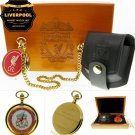 2003 LIVERPOOL FC Pocket Watch Set Soccer Men Gift Leather Pouch Wood Box C84